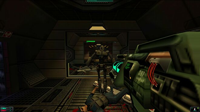 A Protocol Droid in a System Shock 2 screenshot.