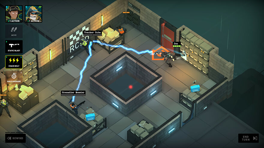 Tactical Breach Wizards - In an isometic stone walled room, a wizard called Jen shoots a bolt of lightning at one enemy that bounces off and hits a second enemy.