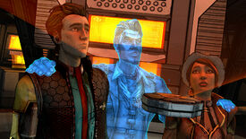 Rhys, Jack, and Fiona in a Tales From The Borderlands screenshot.