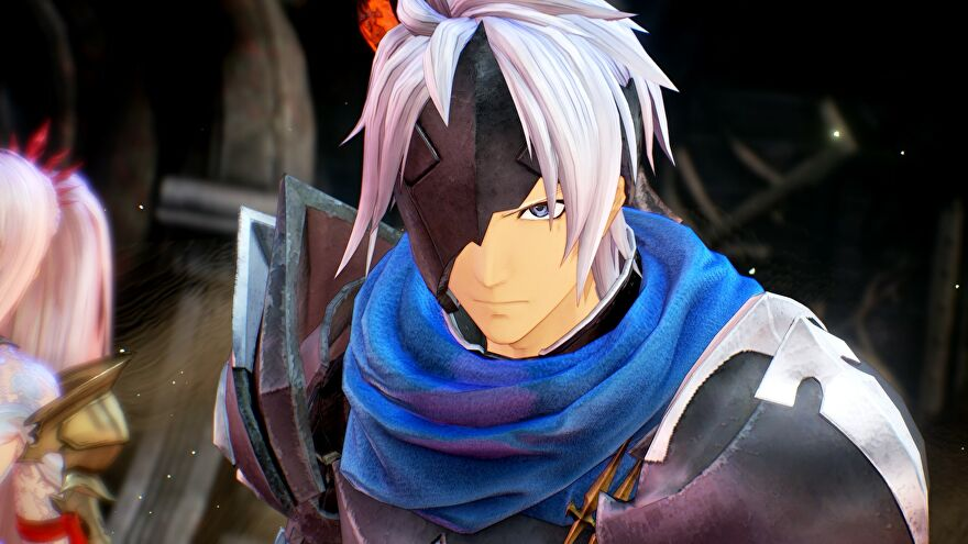 An image from Tales Of Arise which shows Alphen, a swordsman clad in armour with white hair, an eye patch, and a blue scarf stare intensely at something in front of him.