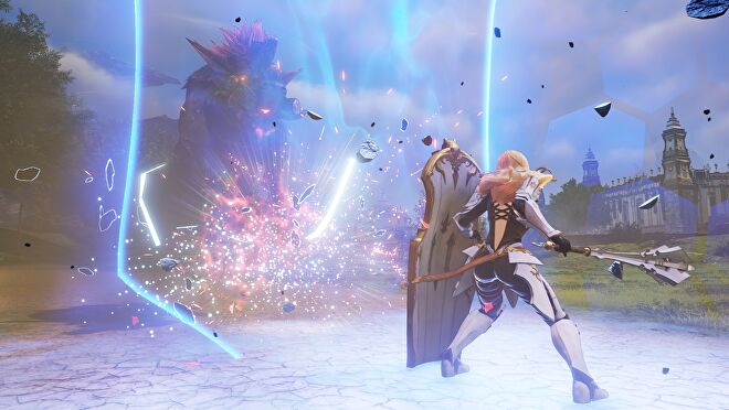 A woman fights a giant monster in a field in Tales Of Arise
