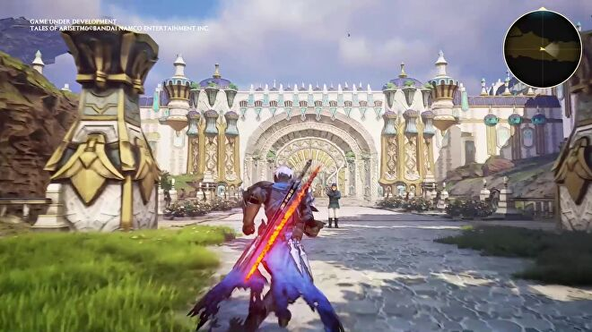 An image from Tales Of Arise which shows Alphen, a swordsman clad in armour with a blue cape and flaming sword on his back, run towards the gates of a huge city of white stone.