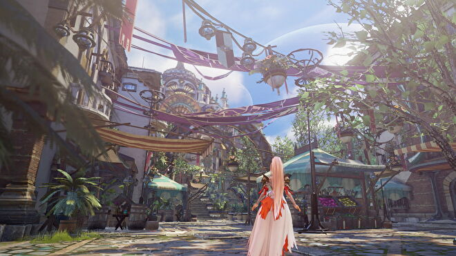 A woman looks up at a cityscape in Tales Of Arise
