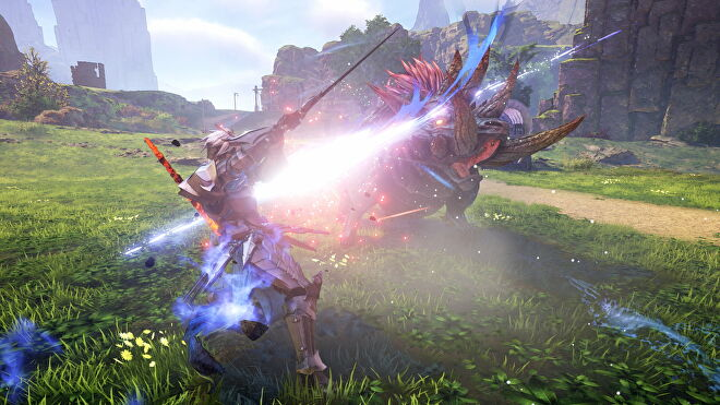 A warrior swings his sword at a beast in Tales Of Arise