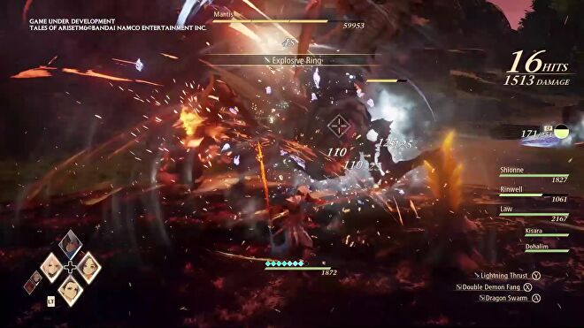 An image from Tales Of Arise which shows a a hectic battle screen with fire everywhere and status effects going off and numbers and bars and oh god.