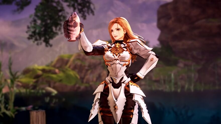 Tales Of Arise - A character wearing armor and holding up a small fish.
