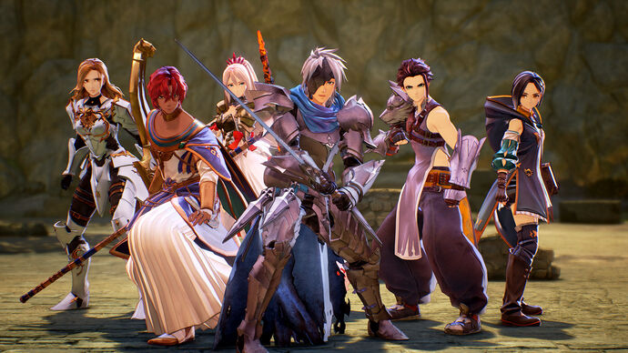 A group shot of the party members from Tales Of Arise