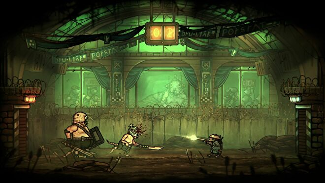 Redgi the rat prince in Tails Of Iron, in some kind of thunderdome situation in a green lit underground arena, facing a giant mole that looks like a heavy mob enemy, and a smaller mole who looks like the wrestler Rey Mysterio, who is running at him with a halberd