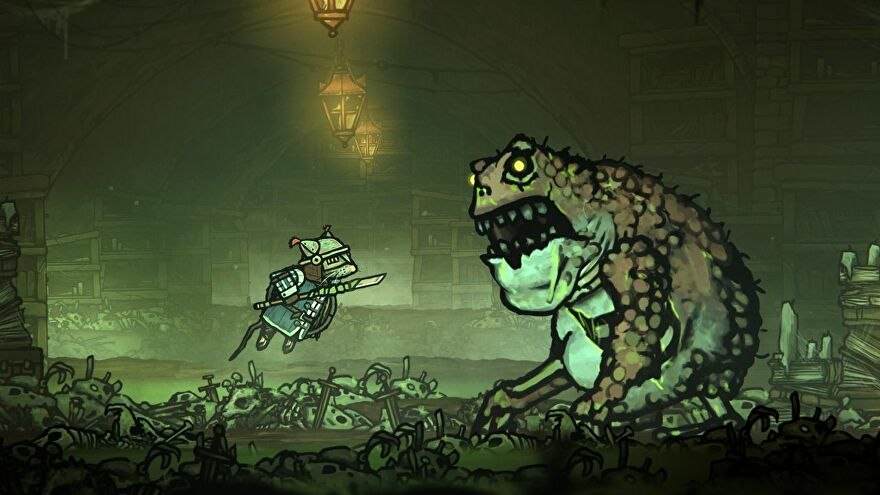 Redgi the rat prince in Tails Of Iron leaping at a giant, monstrous frog that has, somehow, teeth.