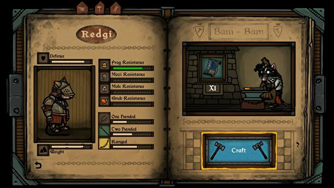 A crafting screen in Tails Of Iron, where protagonist rat prince Redgi can craft armour. It looks like an old-timey book with thick yellowy pages.