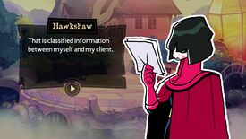 A red cloaked character holds up some papers in Tangle Tower
