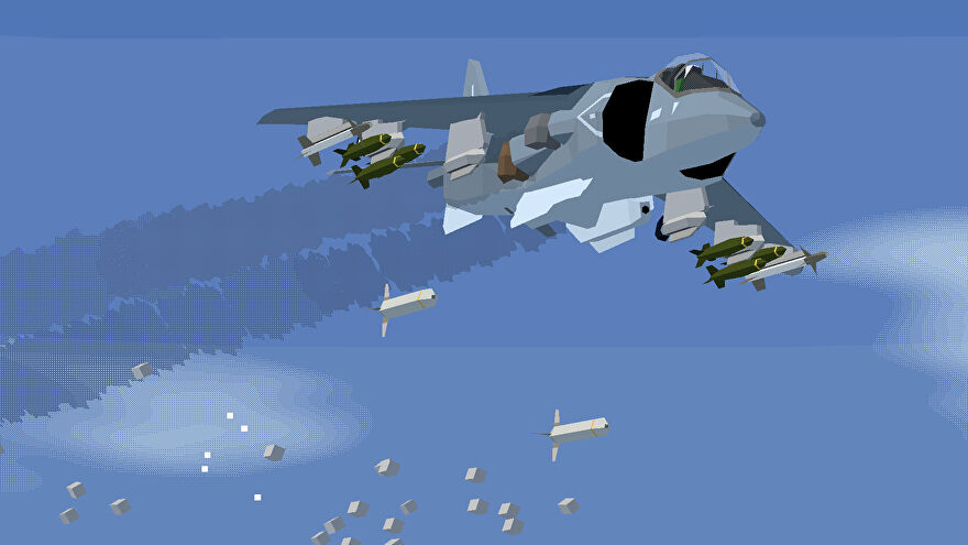 A polygonal aircraft in flight in Tiny Combat Arena