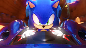A close-up shot of Sonic the Hedgehog behind the wheel of his kart in Team Sonic Racing