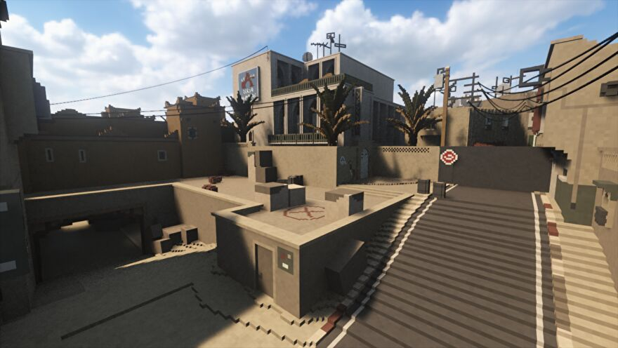 A screenshot of bomb site B from Counter-Strike's de_dust, only recreated in the Teardown engine which makes the entire level destructible.