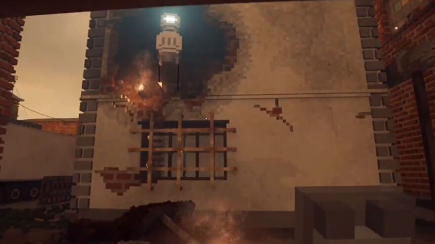 A screenshot of Teardown showing a robot with a single glowing eye peering down at the player from a hole blown in a wall.