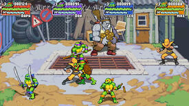 A screenshot from Teenage Mutant Ninja Turtles: Shredder's Revenge showing the heroes in a half-shell battling Rocksteady and the Foot.