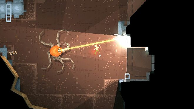 A top-down shot of Teleglitch showing a kind of spidery robot shooting a lazer