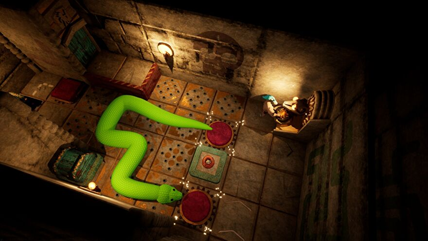A screenshot of Temple Of Snek, showing a large green snake stretched across a gridded floor seemingly covered in switches and potential spikes.