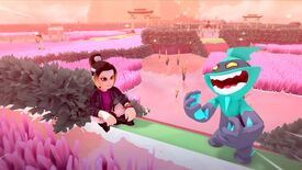 A screenshot of Temtem showing Cipanku island, featuring pink wheat fields and a trainer and Temtem poised on a low wall in the foreground.