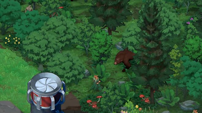 Terra Nil - A bear emerges from a rejuvenated forest near a renewable power source.