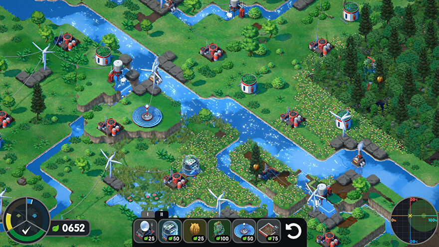Terra Nil - Isometric view of a green and grassy environment full of rivers with wind turbines and water purifiers built on the landscape.