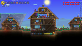 A bustling base in a Terraria screenshot.