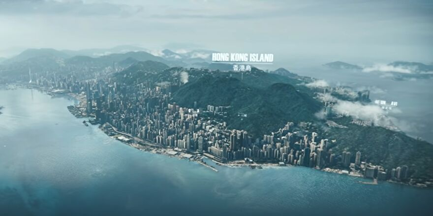 A still from the CG trailer of Test Drive Unlimited Solar Crown showing Hong Kong island.