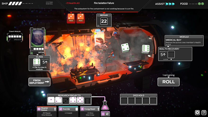 A screenshot of Tharsis showing an exploding segment of a spaceship, with rolling dice on top of it and the face of a panicked spaceman looking on.