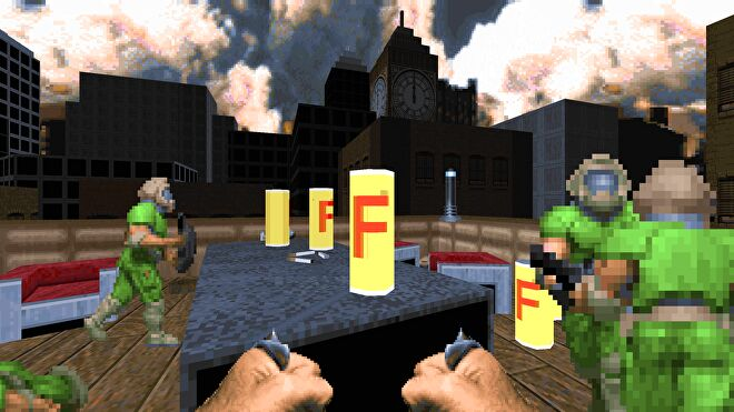 A can of F lager in a screenshot from Doom 2 mod Thatcher's Techbase.