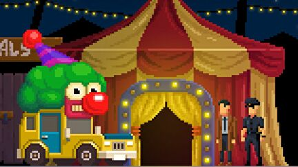 Detective McQueen and Officer Dooley stand in front of a yellow and red striped circus tent. They are looking at a yellow clown car, which has a giant grimacing clown face on top of it/