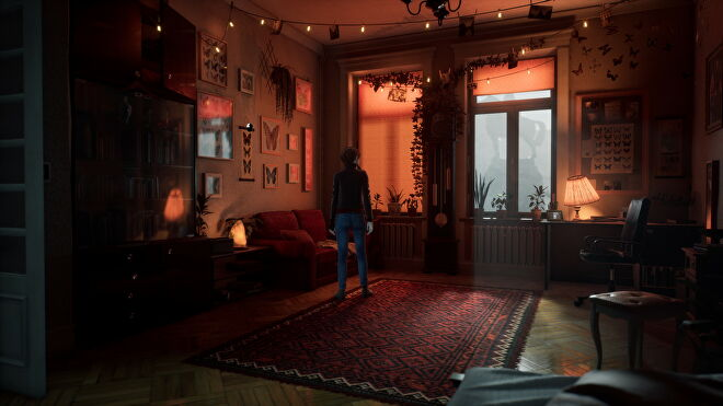 A warm, dimly-lit room from The Medium with no ray tracing effects