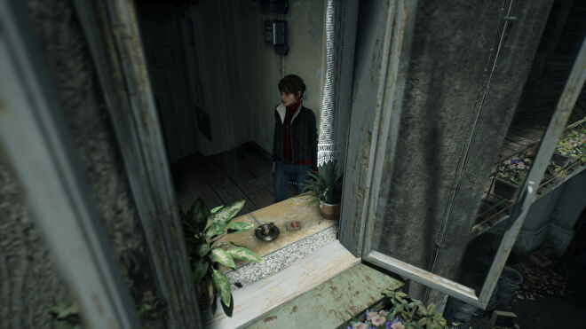 A screenshot of Marianne looking out a window in The Medium with no ray tracing effects