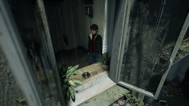 A screenshot of Marianne looking out a window in The Medium with Ultra ray tracing