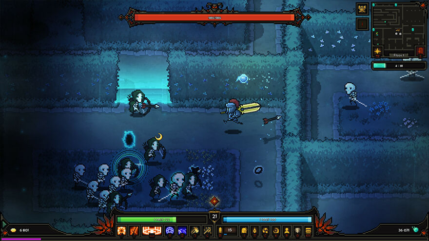 The Slormancer - A knight character runs towards a group of skeletons in a pixel art style garden at night.
