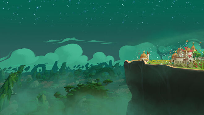 A lovely view of a night sky just off the back of The Wandering Village's giant turtle-like creature.