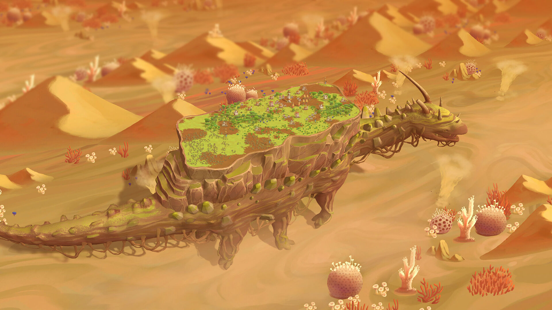 The Wandering Village will have you build a city on a giant turtle