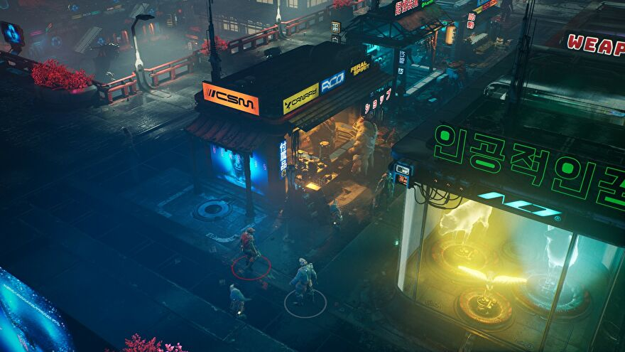 An image from The Ascent which shows two players stood outside a futuristic street stand.