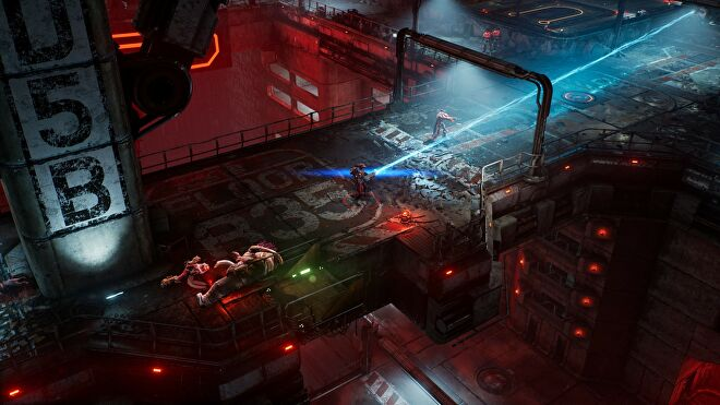 An image of The Ascent which shows top-down combat on a bridge, with the player firing a blue laser at an enemy.
