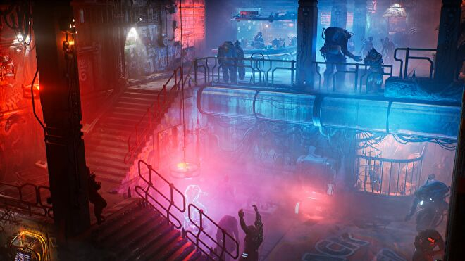 An image of the The Ascent which shows a neon-lit, underground club.