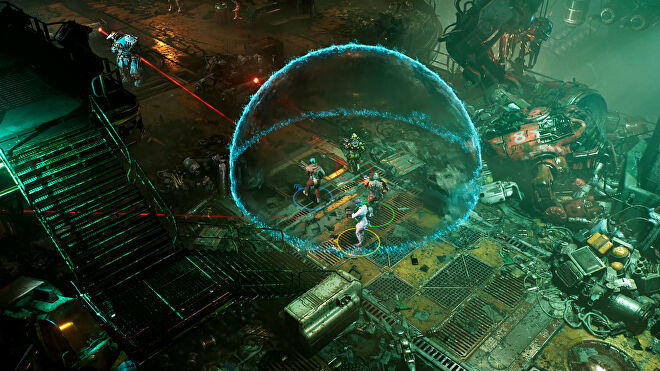 The Ascent - Four player characters stand inside a blue shield dome while aiming at a mechanical enemy while standing in a cluttered, metal terrace full of mechanical scrap heaps.