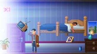A screenshot of The Darkside Detective: A Fumble In The Dark showing a detective in a trenchcoat looking into a blinding light in a bedroom full of hovering furniture.