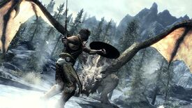 The dragonborn faces a dragon in a Skyrim screenshot.