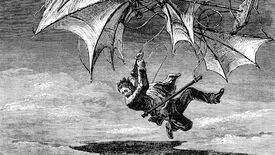 An illustration of a man falling from a flying machine.
