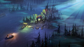 Rafting past a spooky island in a The Flame In The Flood screenshot.
