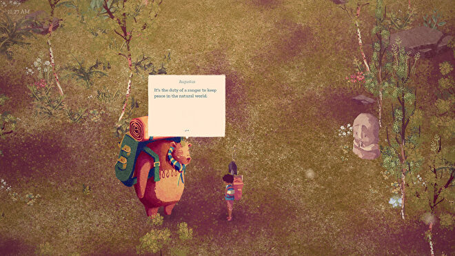 """The Garden Path - The player stands in a meadow talking to a large backpack-wearing bear named Augustus who says """"It's the duty of a ranger to keep peace in the natural world."""""""