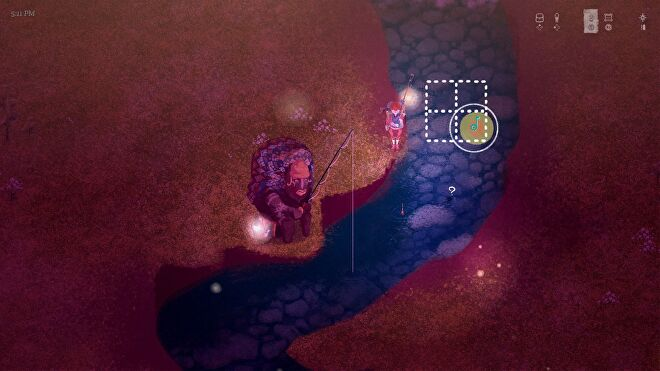 The Garden Path - The player is fishing by navigating a music note across a four quadrant grid. Red and yellow concentric circles show where the music note should be aimed.