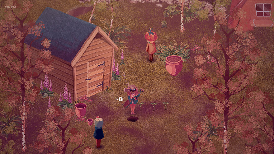 The Garden Path - A player stands beside a cabin with a shovel in hand to plant some crops. A pumpkin-headed villager stands nearby.