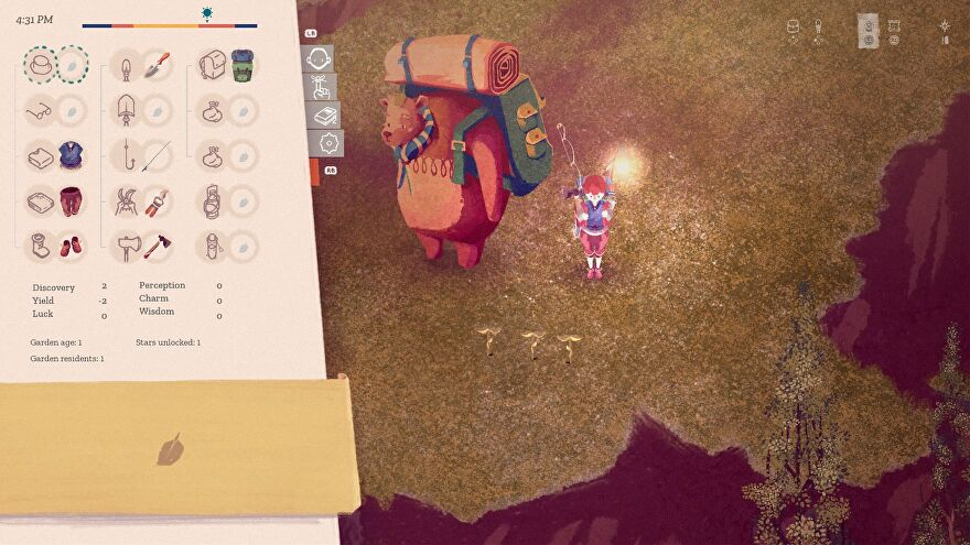 The Garden Path - The player stands beside three planted seeds with a backpack lantern lit next to Augustus the bear while looking at their inventory.