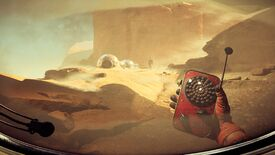 The Invincible - On a desert planet a player in first person holds a red handheld radar while following behind another character approaching a set of chrome structures along the ground.