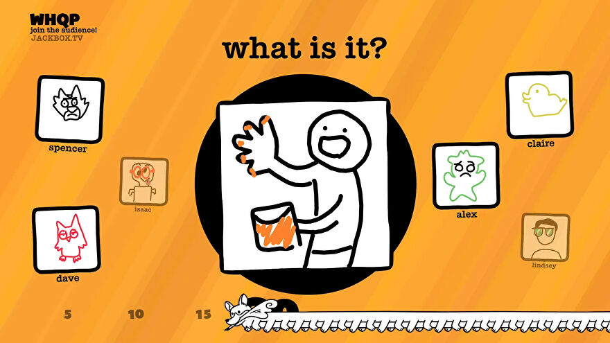 Guessing at a drawing in a screenshot from The Jackbox Party Pack 8.